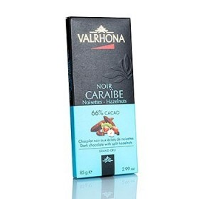 Valhrona gorzka czekolada z kawałkami orzechów laskowych 85g
